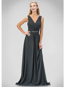 GL1389T V-neck Evening Dress with Jeweled Belt, Charcoal
