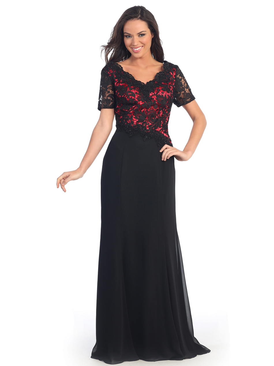 Lace Over Satin Bodice Short Sleeve Evening Dress | Sung Boutique L.A.