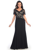 Lace Over Satin Bodice Short Sleeve Evening Dress