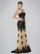 GL2005 Strapless Sweetheart Prom Evening Dress with Lace Applique, Black Gold