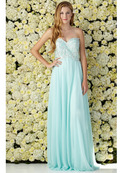 GL2049 Embellished Strapless Chiffon Gown, Tiffany