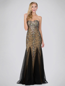 GL2067 Sequined Sweetheart Tulle Prom Dress , Black Gold