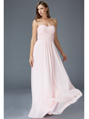GL2070 Strapless Sweetheart Ruched Prom Dress, Pink