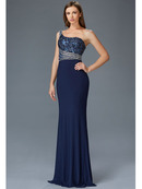 GL2086 One Shoulder Evening Dress, Navy