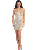 Nude Stone Embroideried Special Occasion Cocktail Dress