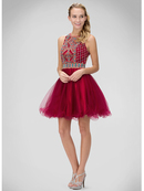 GS1311H High Neck Beaded Homecoming Dress, Magenta