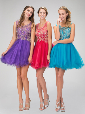 GS1335D Beautiful Homecoming Dress with Tulle Skirt, Purple