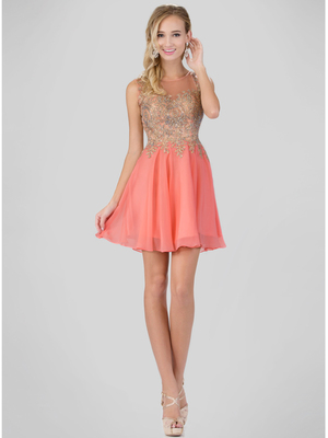 GS1336D Illusion Neckline Homecoming Mini Chiffon Gown, Coral