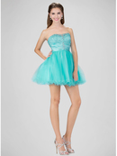 GS1345 Mini Sweetheart Homecoming Dress with Tulle Skirt, Blue