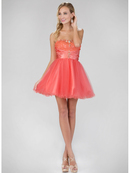 GS1345P Mini Sweetheart Homecoming Dress with Tulle Skirt, Coral