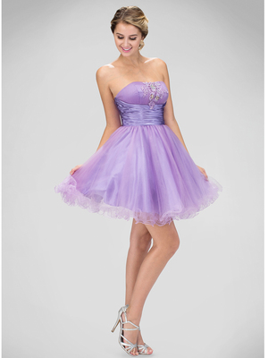 GS1350P Strapless Sweetheart Homecoming Dress, Lilac