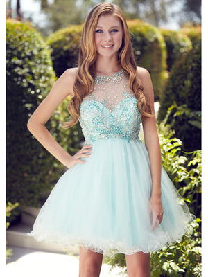 GS2074 Illusion Yoke Short Prom Dress, Mint