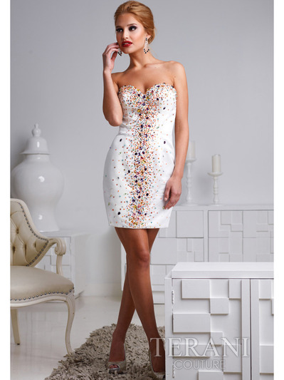 H1201 Ivory Sweetheart Crystal Embellished Cocktail Dress By Terani - Ivory Multi, Front View Medium