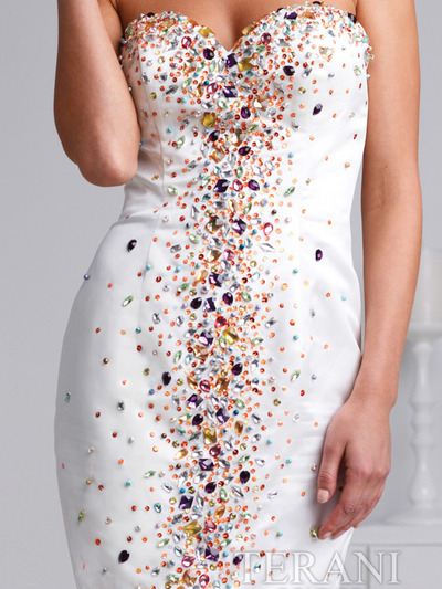 H1201 Ivory Sweetheart Crystal Embellished Cocktail Dress By Terani - Ivory Multi, Alt View Medium