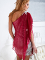 Raspberry One Shoulder Pleated Sequin Overlay Cocktail Dress By Terani - Back Image