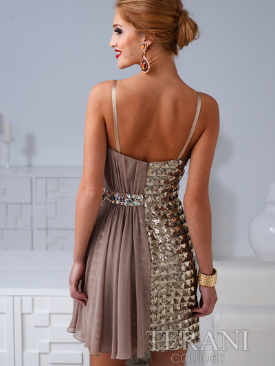 H1207 Checkered and Chiffon Drapped Cocktail Dress By Terani - Gold, Back View Medium