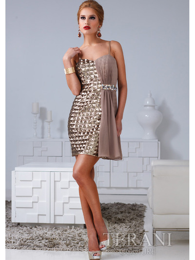 H1207 Checkered and Chiffon Drapped Cocktail Dress By Terani - Gold, Front View Medium