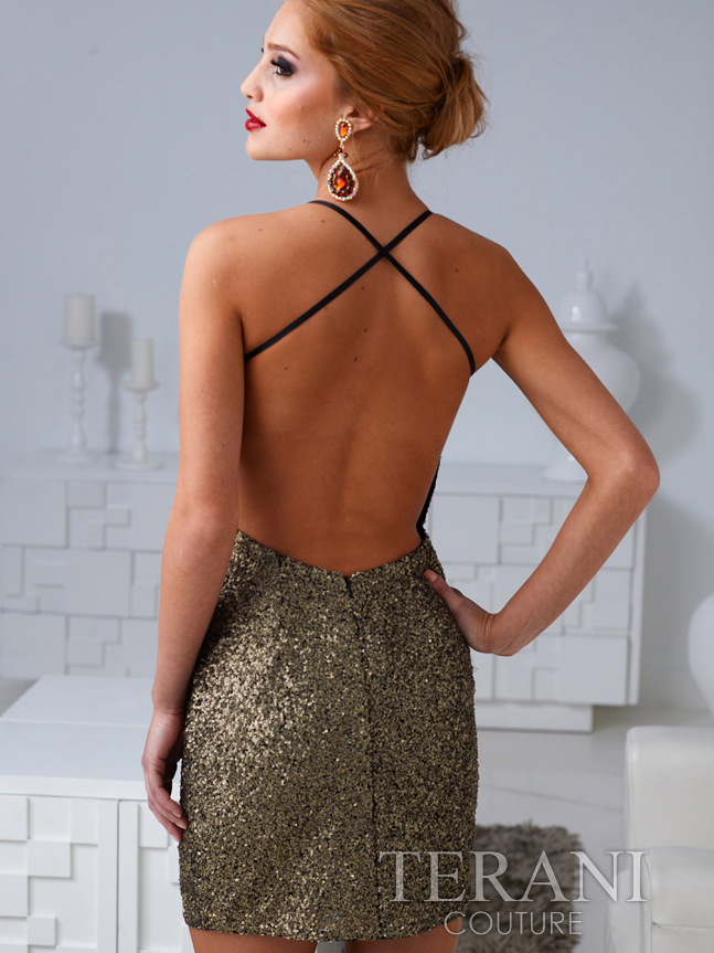 Sequin Open Back Cocktail Dress By Terani Sung Boutique L A