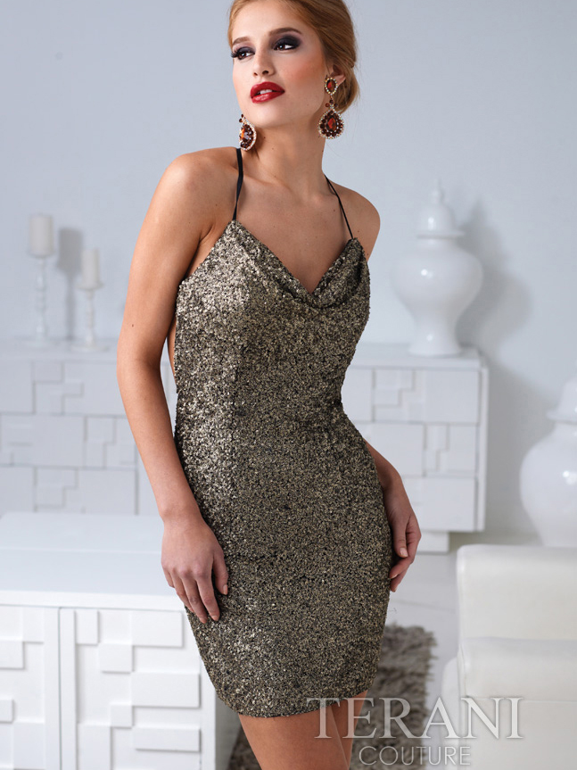 Sequin Open Back Cocktail Dress By Terani | Sung Boutique L.A.