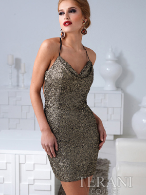 H1209 Sequin Open Back Cocktail Dress By Terani, Dark Gold