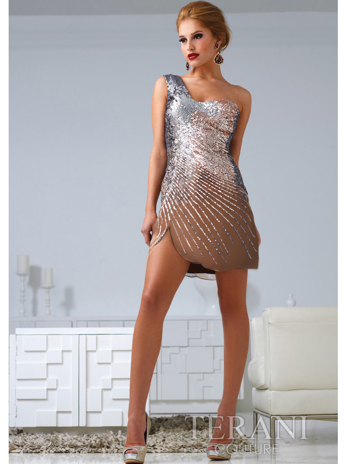 Bronze One Shoulder Sequin Cocktail Dress By Terani | Sung ...
