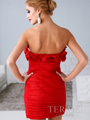 Red Strapless Rosett Cocktail Dress By Terani - Back Image