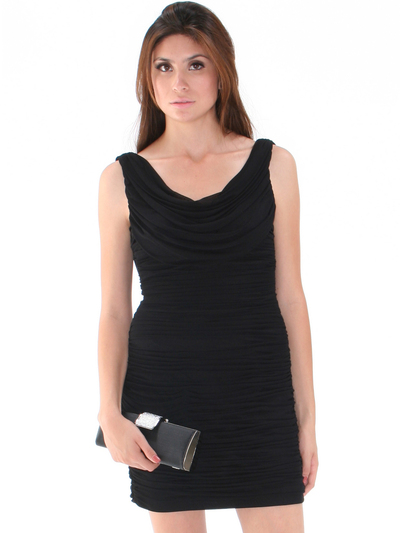 H1216 Crowl Cocktail Dress By Terani - Black, Front View Medium