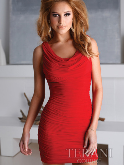 H1216 Crowl Cocktail Dress By Terani - Red, Front View Medium