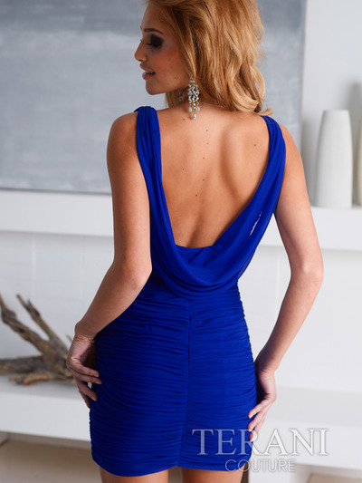 H1216 Crowl Cocktail Dress By Terani - Royal Blue, Back View Medium