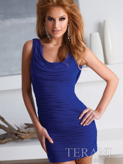 H1216 Crowl Cocktail Dress By Terani - Royal Blue, Front View Medium