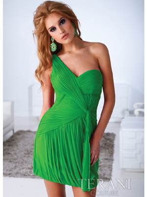 H1217 One Sholder Pleated Homecoming Dress By Terani, Green