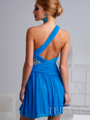 Turquoise Pleated And Jewled One Shoulder Homecoming Dress By Terani - Back Image