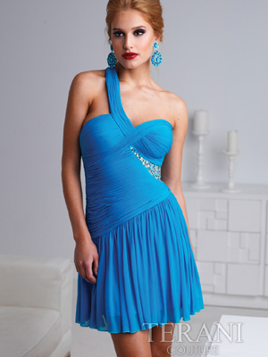 H1218 Pleated And Jewled One Shoulder Homecoming Dress By Terani, Turquoise
