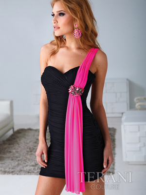 H1219 Pleated One Shoulder Homecoming Dress By Terani, Black Fuschia