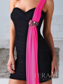 H1219 Pleated One Shoulder Homecoming Dress By Terani - Black Fuschia, Alt View Thumbnail