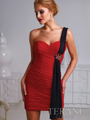 H1219 Pleated One Shoulder Homecoming Dress By Terani - Red Black, Front View Thumbnail