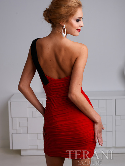 H1219 Pleated One Shoulder Homecoming Dress By Terani - Red Black, Back View Medium