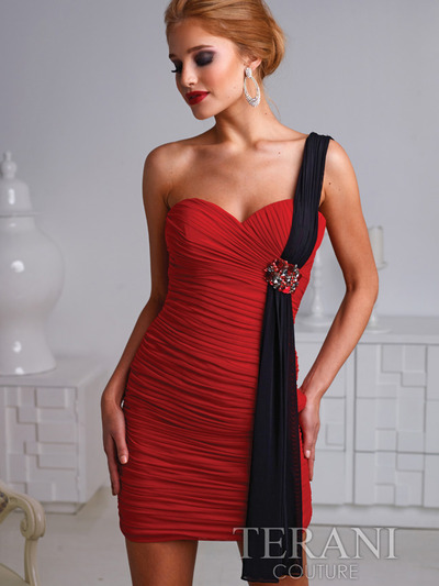 H1219 Pleated One Shoulder Homecoming Dress By Terani - Red Black, Front View Medium