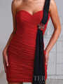 H1219 Pleated One Shoulder Homecoming Dress By Terani - Red Black, Alt View Thumbnail
