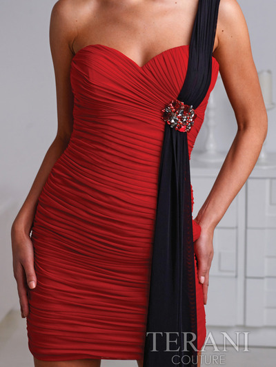 H1219 Pleated One Shoulder Homecoming Dress By Terani - Red Black, Alt View Medium