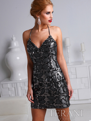 H1220 Sequin Cocktail Dress By Terani, Black