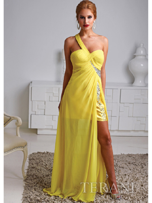 H1226 One Shoulder Chiffon Satin Overlay Cocktail Dress By Terani, Yellow