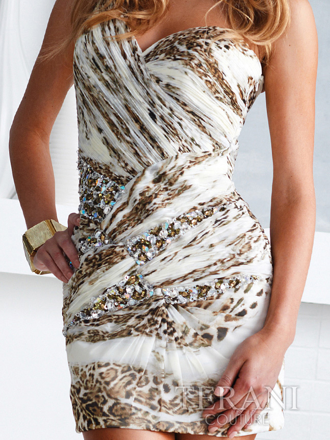 One Sholder Ivory and Leopard Cocktail Dress By Terani - Sung ...