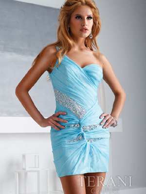 H1247 One Shoulder Chiffon Sequin Overlay Homecoming Dress By Terani, Ice Blue