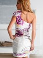 One Shoulder White and Fuschia Floral Cocktail Dress By Terani - Back Image