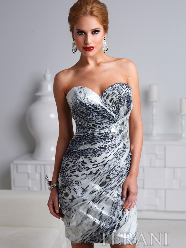 Strapless Gray Leopard Cocktail Dress By Terani | Sung Boutique L.A.