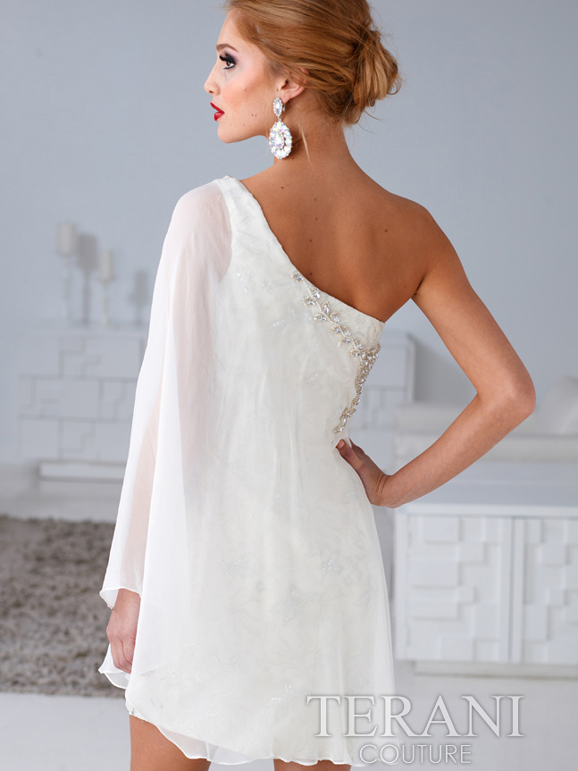 Cream Floral Embroidery Chiffon Overlay Cocktail Dress By Terani ...