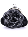 Black Grey Rosette Evening Bag - Front Image