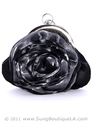 HBG8643 Black Grey Rosette Evening Bag, Black