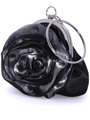 Black Grey Rosette Evening Bag - Alt Image